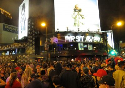 Fans gather outside First Avenue the night Prince died