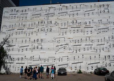 Tour group at Schmitt Music Wall